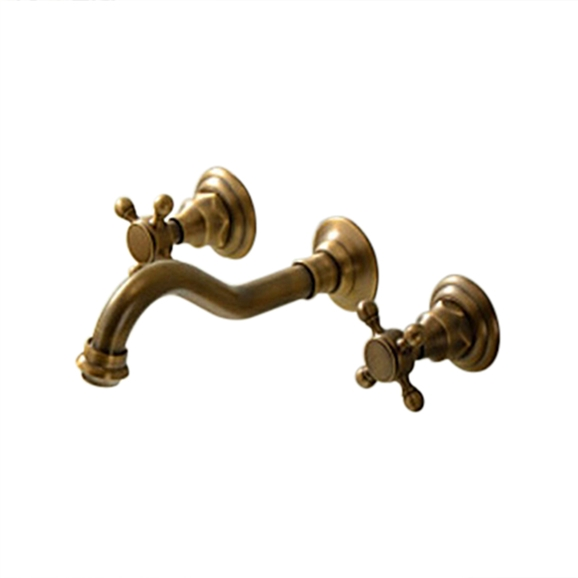Venice Classico Antique Brass Widespread Wall Mount Faucet R1091