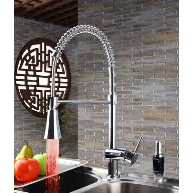 Chrome Finish LED Kitchen Faucet with Mixer Tap - All in One ...