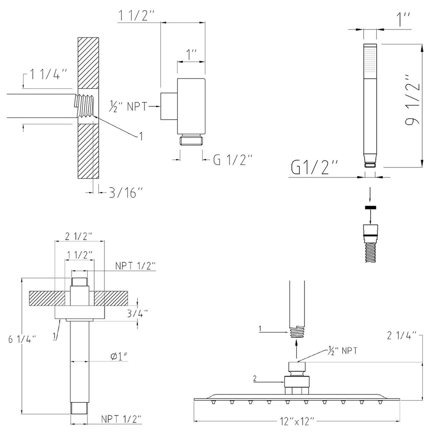 Lima Thermostatic Shower System 3 Way Mixer with 6 Body Spa Sprays