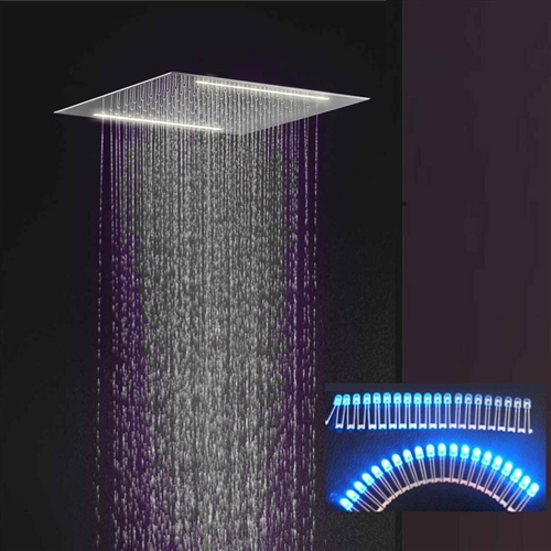 rain shower head with lights. Recessed Ceiling Mount Square Oil Rubbed Bronze LED Rain Shower Head