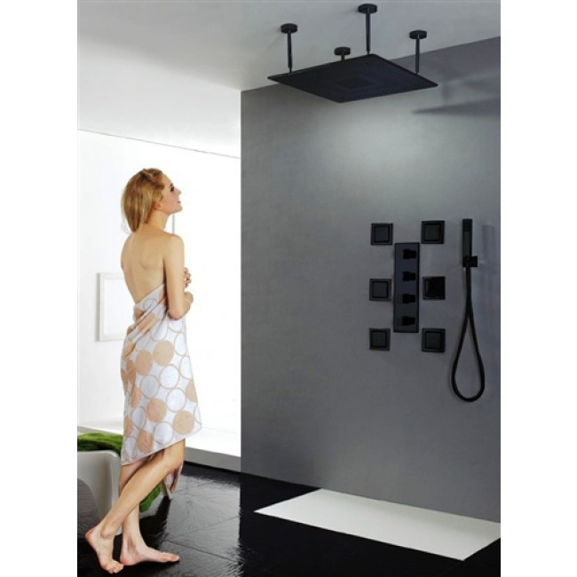 20  Dark Oil Rubbed Bronze Solid Brass LED Rain Shower Head with Body Jets