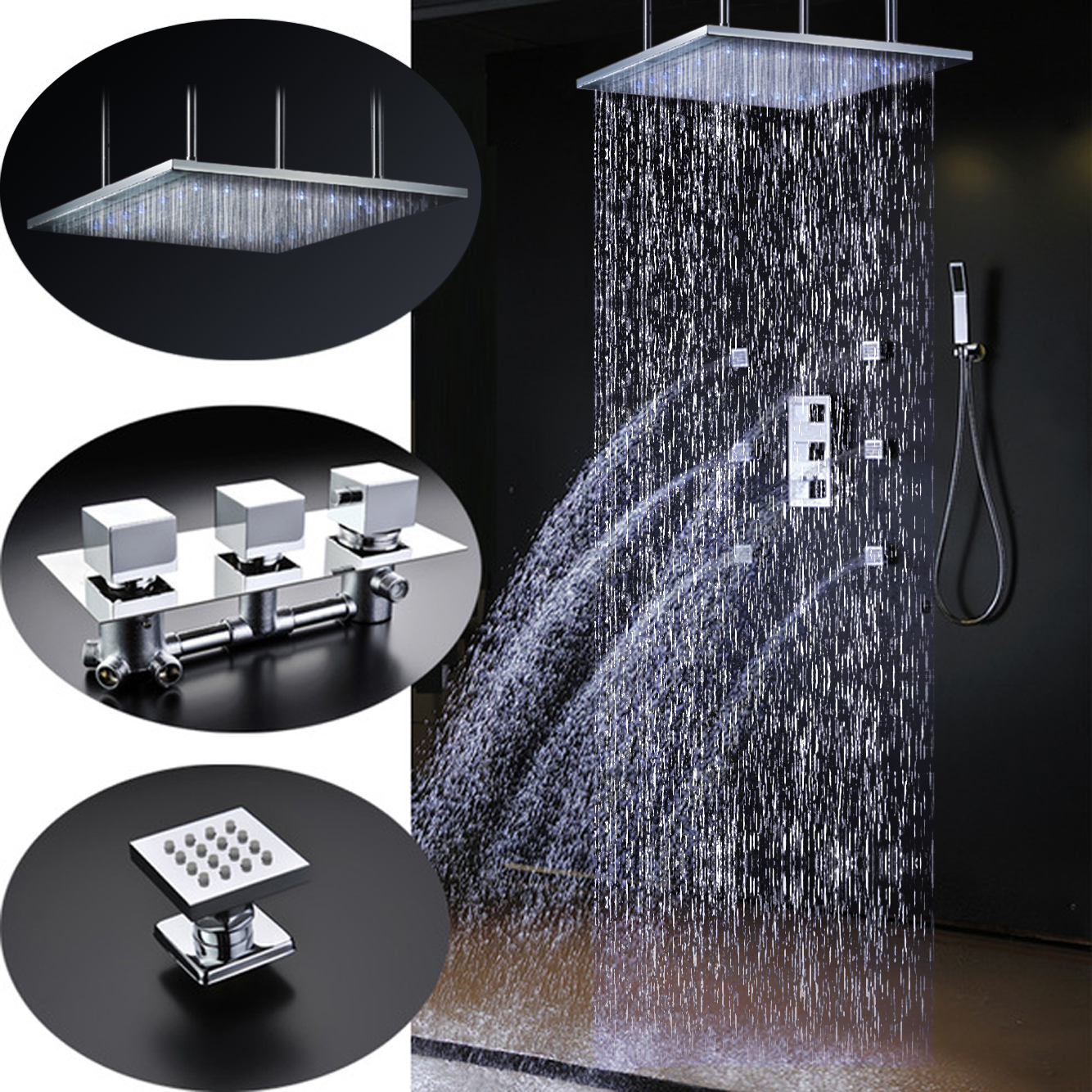 Sicily 40u2033 * 40u2033 Large Chrome LED Rain Shower Head With Body Jets U0026