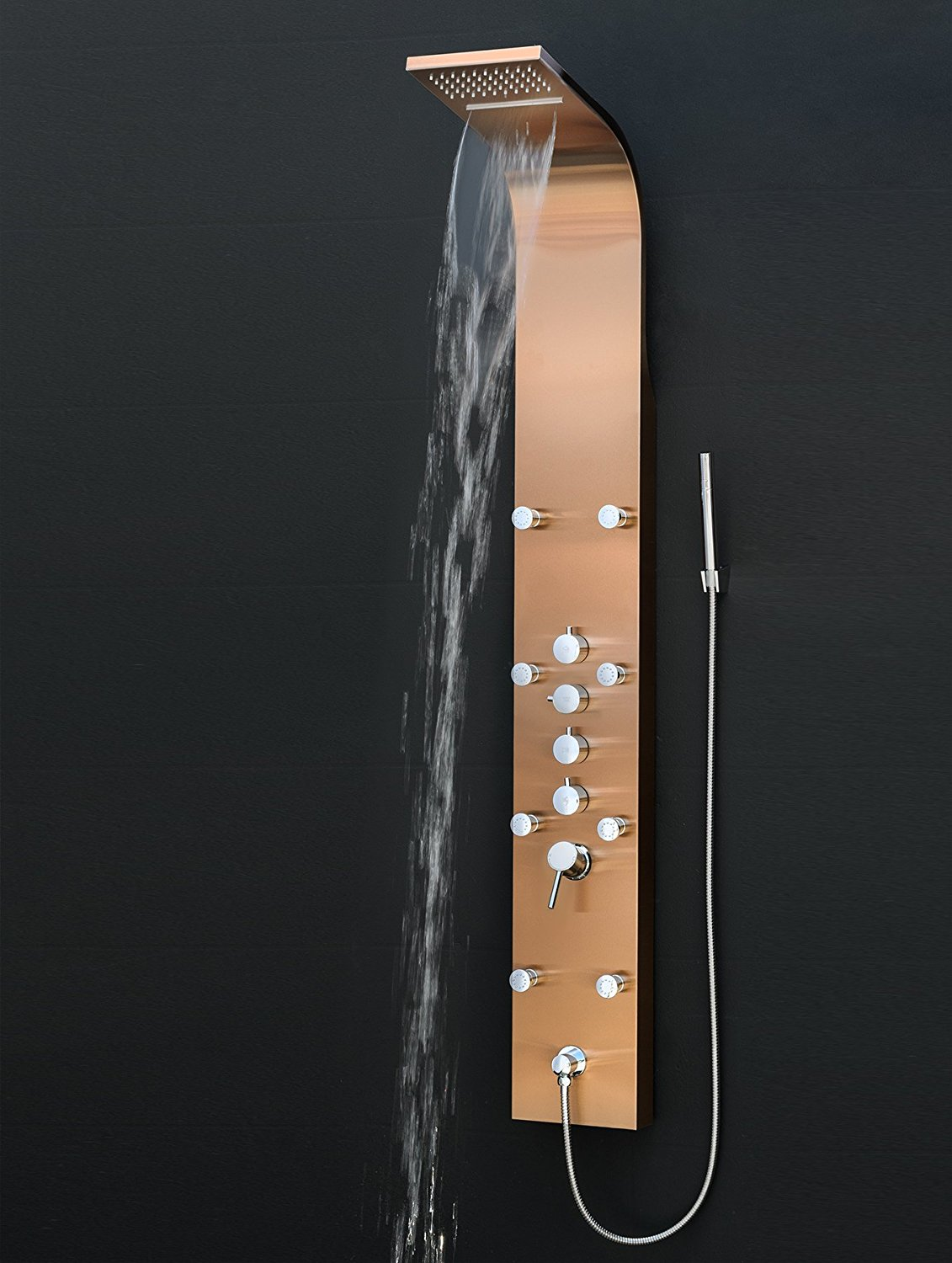 Abrantes Multi-Function Bronze Finish Wall Mount Shower Panel System ...