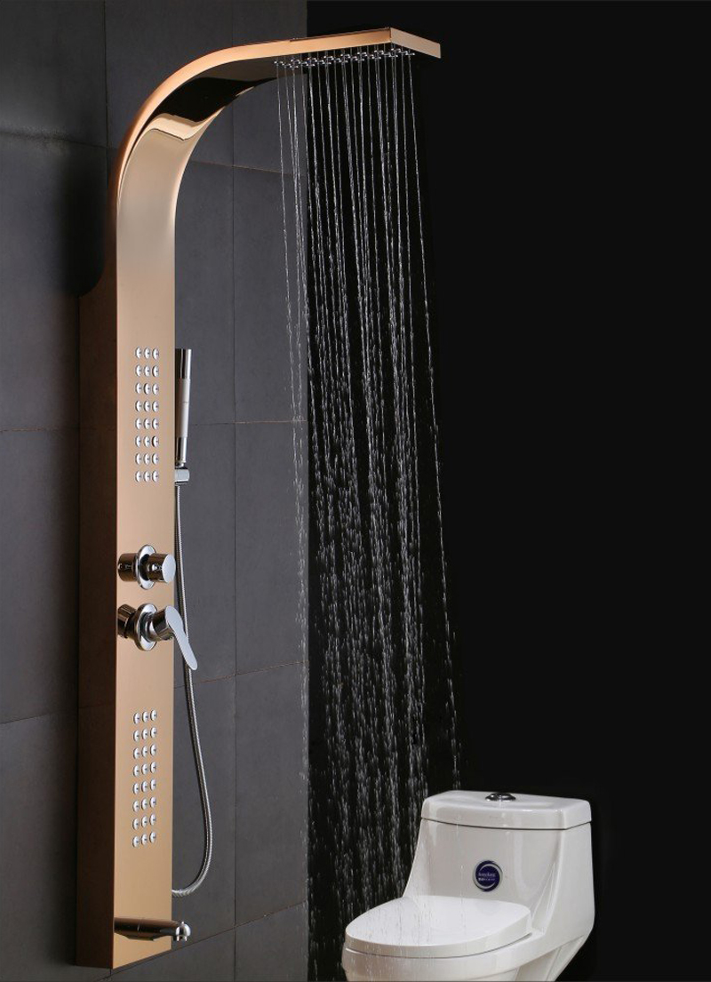 Albufeira Stainless Steel Gold Finish Shower Panel System
