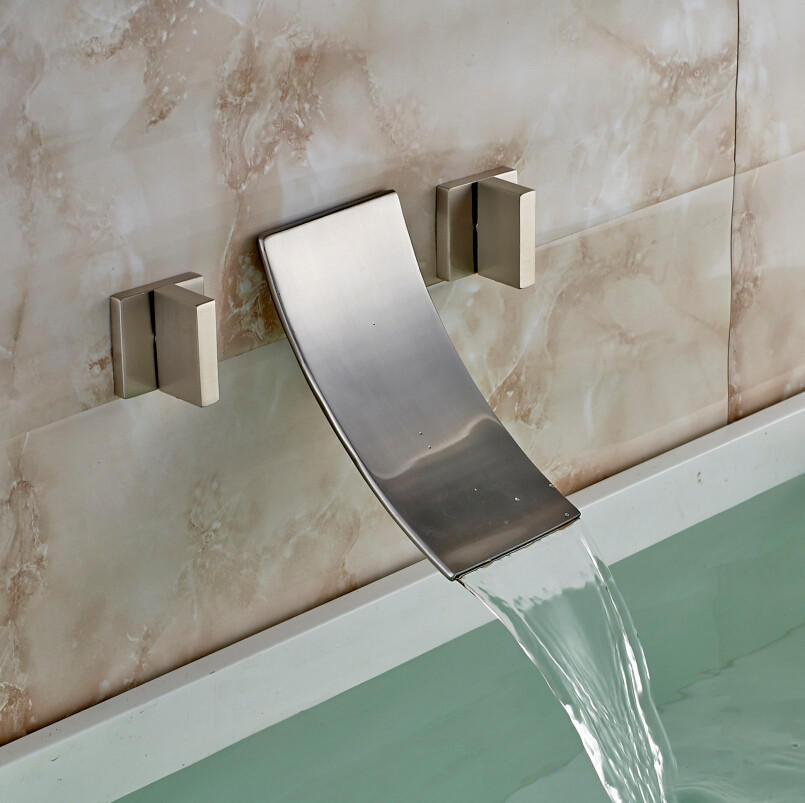 Merveilleux Havana Double Handled Brushed Nickel Wall Mounted Bathtub Faucet