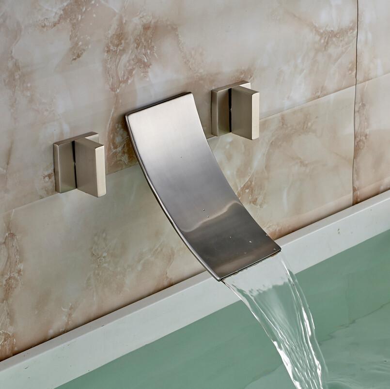Havana Double Handled Brushed Nickel Wall Mounted Bathtub Faucet