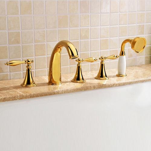 Monaco Luxury Polished Gold Solid Brass Bathtub Faucet Set W Ceramics Hand Shower Sprayer All