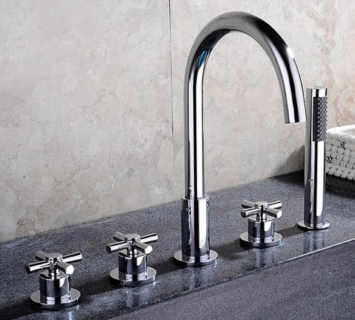 Reims Deck-Mounted 5 Piece Bathtub Faucet - All in One ...