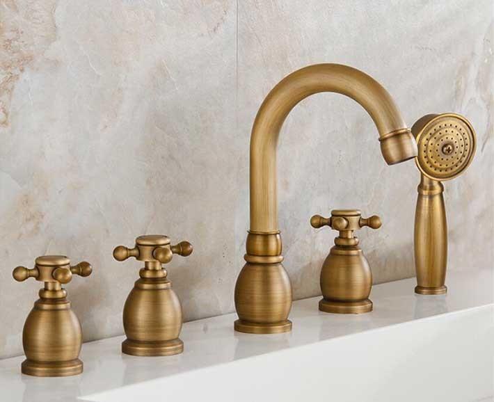 Reno 5pcs Bathtub Faucet In Antique Brass Deck Mount Bath Mixer Tap