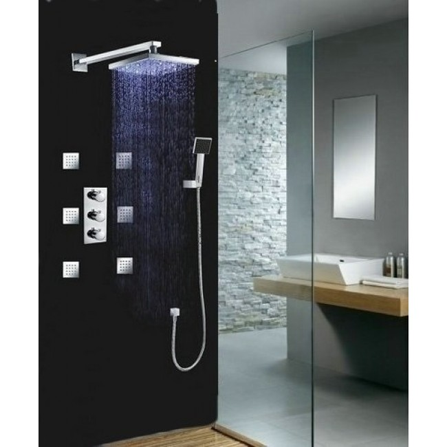 Multi Color Water Powered Led Shower with Adjustable Body Jets and ...