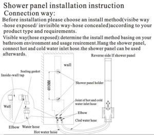Fontana Ermanno Shower Panel H708 All In One Installation Manuals
