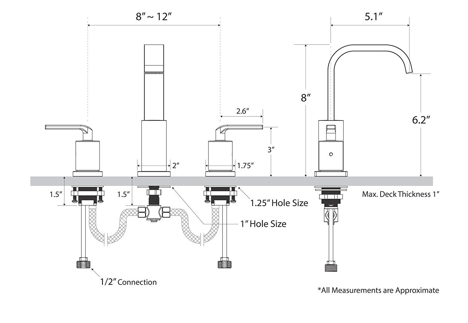 Dual Handle Stainless Steel Bathroom And Kitchen Sink Faucet All In One Installation Manuals
