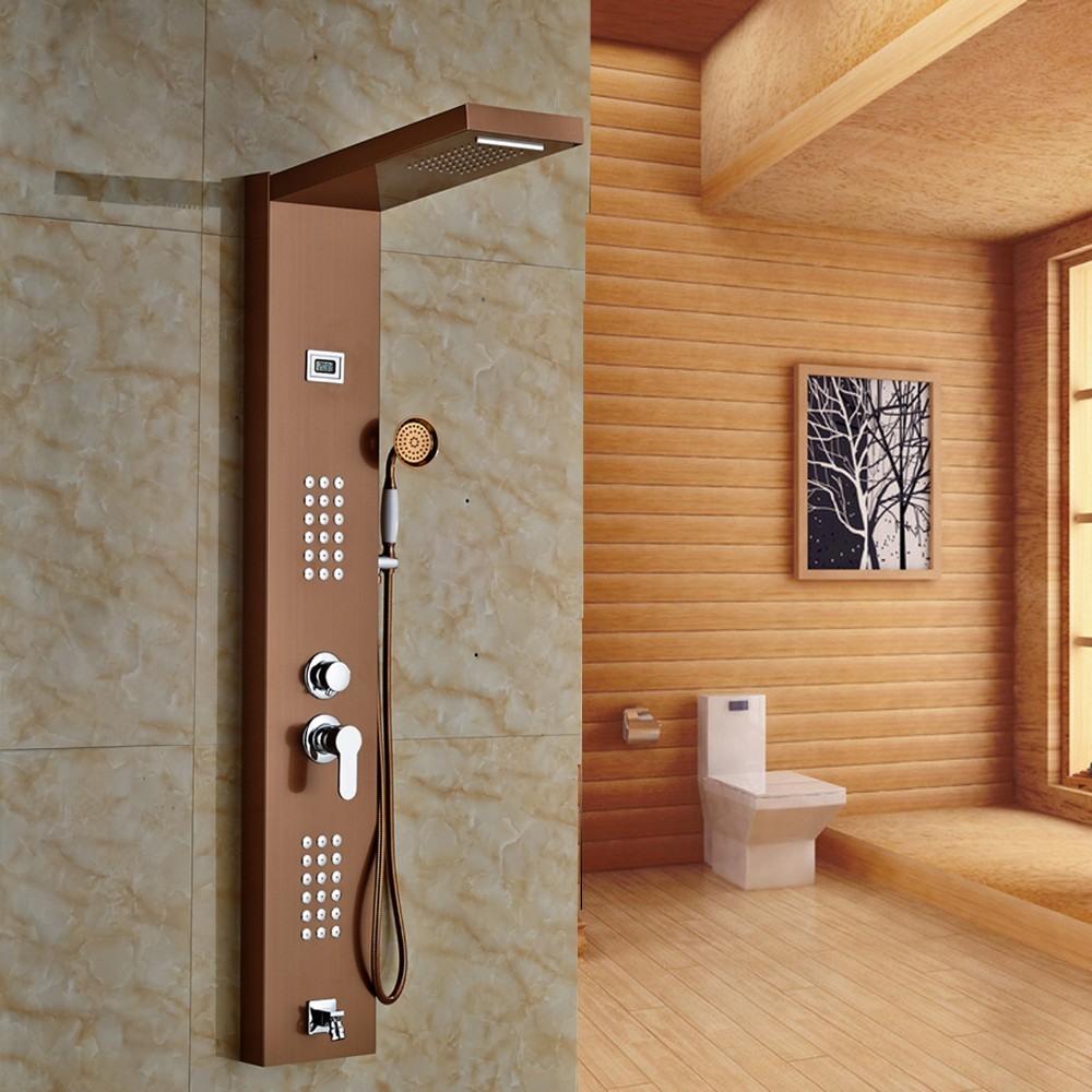 Fontana Rose Gold Finished Wall Mounted Shower Panel All