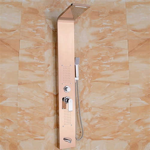 Juno Thermostatic Shower Panel Champagne Gold Finish - All in One ...