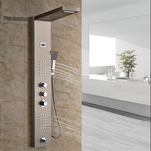 Roman Luxury Digital Display Brushed Nickel Finish Shower Panel With Handheld