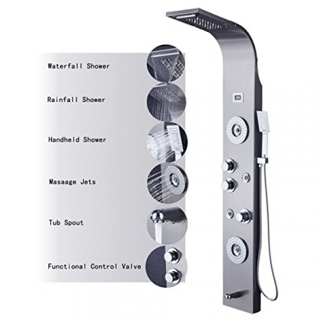 Lovely Rome 5 Function Super Luxury Shower Panel Stainless Steel Body Massage LED  Rainfall Waterfall Shower Panel