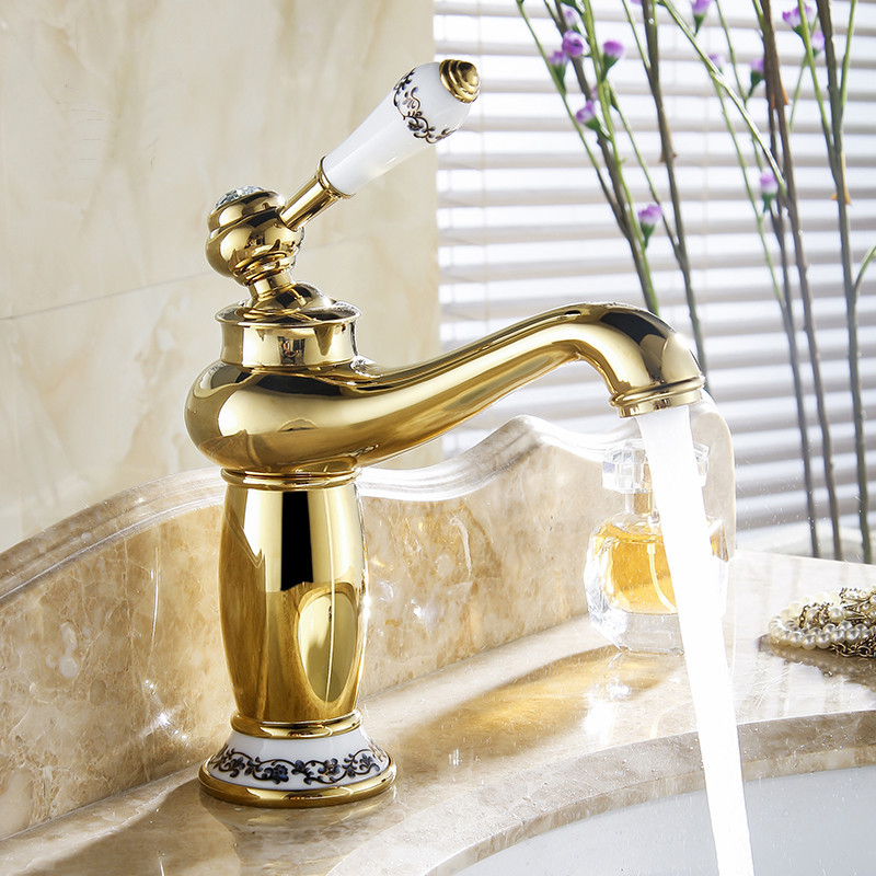 Versilia Gold Finish Sink Faucet Brass Single Handle With Ceramic Accents A