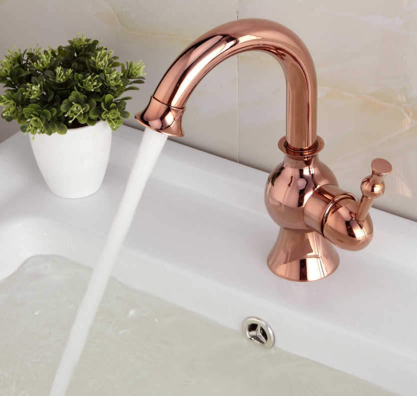 Fiego Rose Gold Sink Faucet Deck Mount All In One