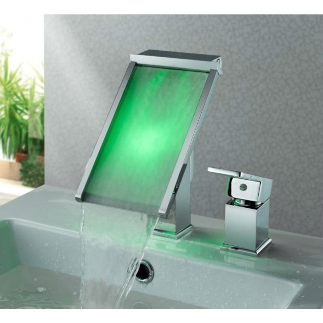 Deck Mount Waterfall Square LED Bathroom Sink Faucets With Chrome Finish