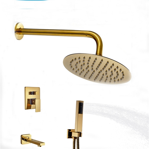 Designer Wall Mount Gold Finish Single Lever Round Shower Set With