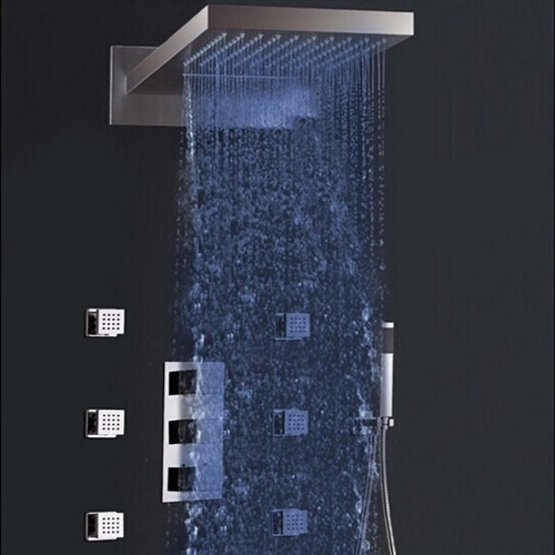 Juno 22 Quot Led Color Change Thermostatic Waterfall Rain