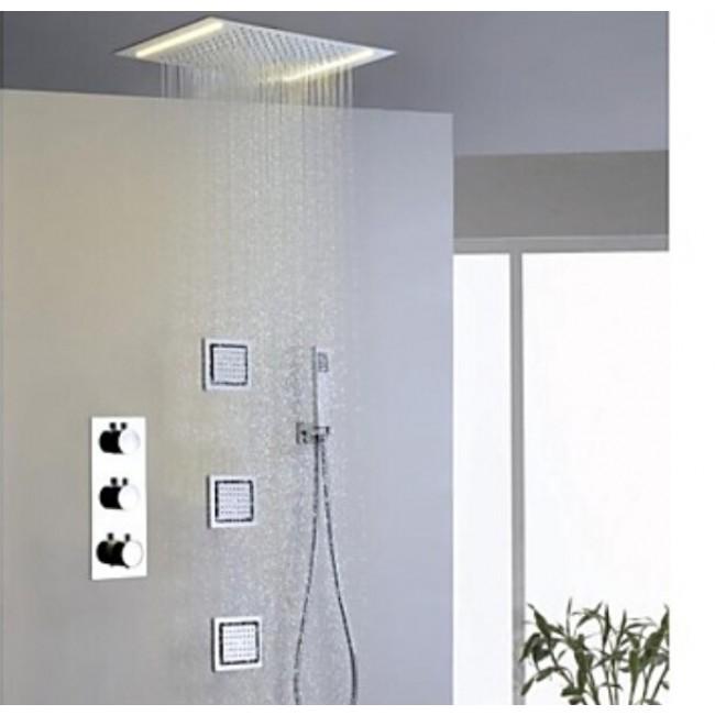 Merveilleux Montecelio 14u2033 * 20u2033 LED Shower Head Along With Hand Held Shower U0026 Body