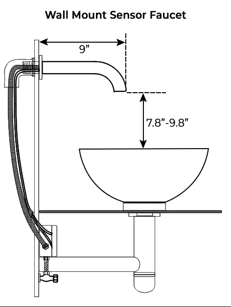 Brio Wall Mount Sensor Faucets Oil Rubbed Bronze Finish