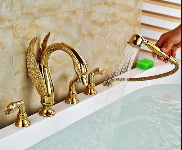 Fontana Swan Neck Gold Finish Waterfall Bathtub Faucet
