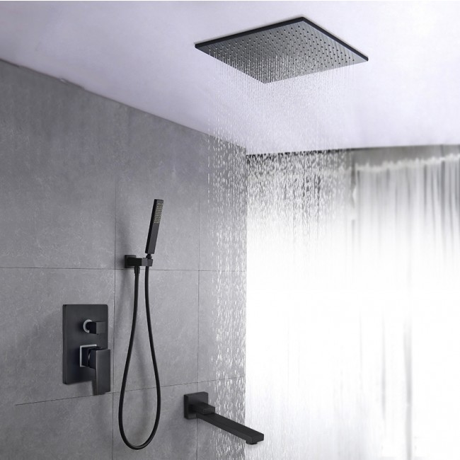 Juno Black Square 16 Inches Water Rainfall Shower Head with Mixer